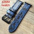 Ручной 42 мм apple watch band, Специальная Конструкция Python кожаный ремешок, Для Iwatch Apple watch, Бесплатная Доставка
