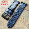Hecho a mano 42mm apple watch band, reloj correa de piel de pitón diseño especial, para iwatch apple watch, shiping libre