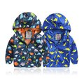 Kids Dinosaur Print Jackets Long Sleeve Softshell Jacket  Coat