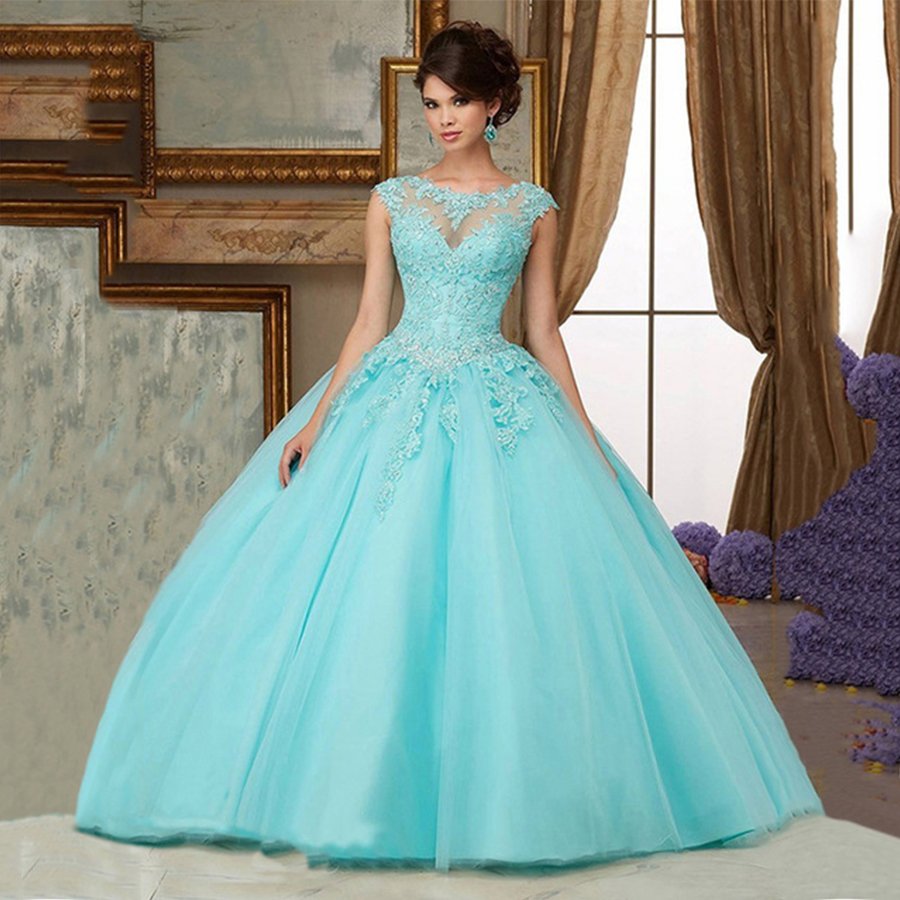 Wedding Prom Ball Gowns popular aqua green prom dresses buy cheap light mint sweet 16 masquerade ball gowns cap sleeves lace tulle sparkly