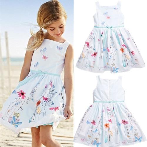 Hot Girls Dress Childrens Clothing White Strap Dress -4196