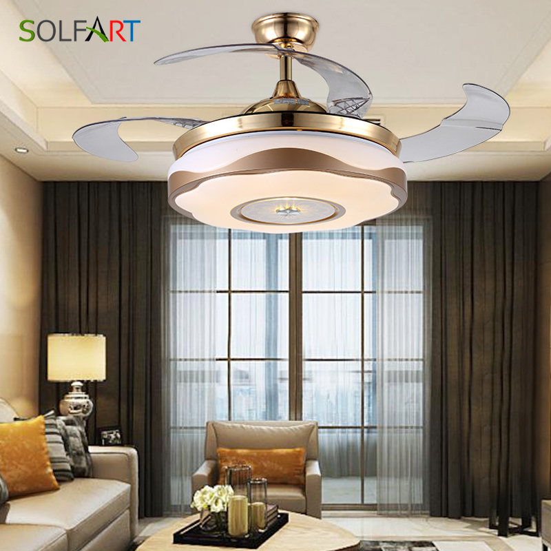 Solfart Remote Control Led Light Fixture Folding Invisible Retractable Hidden blades for living room bedroom