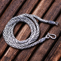 MetJakt Vintage Twist Chain Necklace & Handmade Woven Necklace Solid 925 Sterling Silver Chain for Women and Men Jewelry