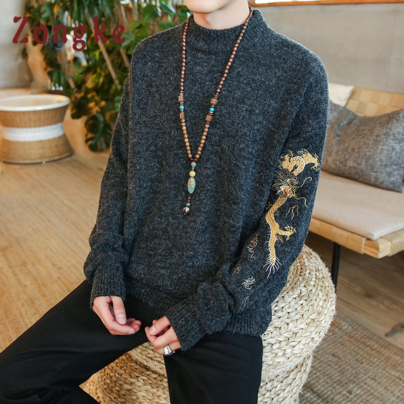 Zongke Chinese Style Dragon Embroidery Knitted Winter Pullover Men Sweater Man Warm Pull Men Sweater Coat Mens Sweaters 2019