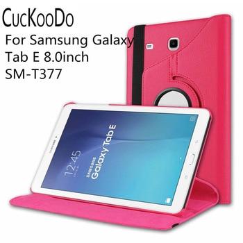 CucKooDo 100Pcs/lot 360 Degree Rotating Stand Auto Sleep Wake Smart Cover for Samsung Galaxy Tab E 8.0 SM-T377 4G LTE 8-Inch