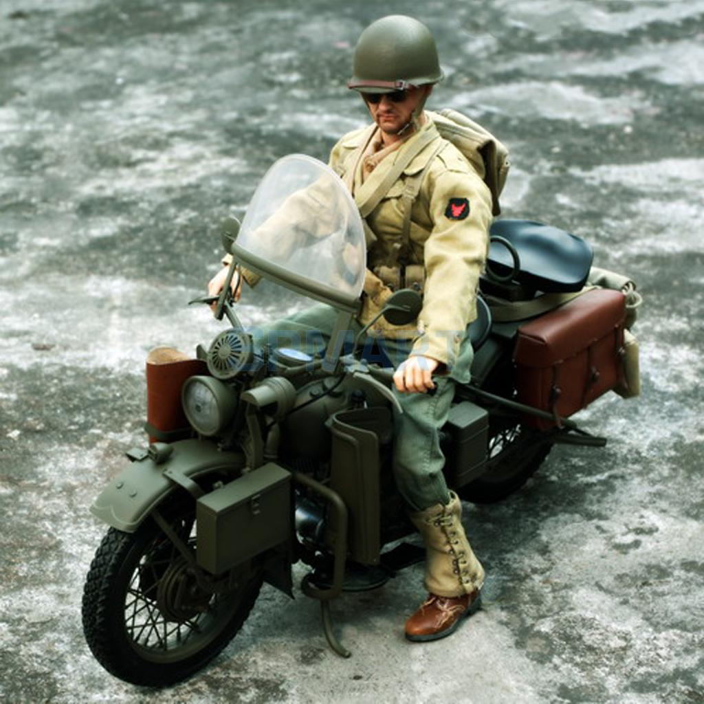 1/6 Scale Plastic US Army Soldier WWII Motorcycle Motorbike Model for 12'' Action Figure Hot Toys Sideshow Captain America 1 6 scale wwii german admiral heydrich model action figure toys did 3r gm633 soldier toys collections m3