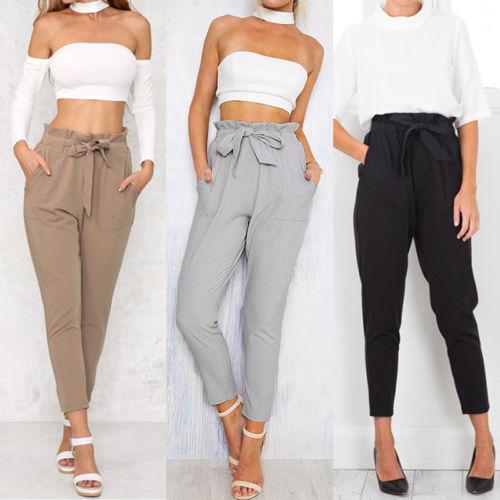 2019 Women High Waist Elastic Harem Pants Casual Chffion OL Lady Ankle Length Capris Trouser Women Clothing Pencil Pants