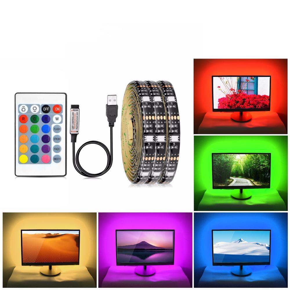 USB 5 V Power DEL bande de lumière RGB 2835 3528 SMD HDTV TV PC écran backlig
