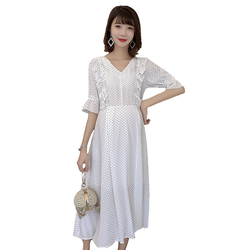 Short Sleeve Dot Loose Summer Chiffon Fashion Pregnancy Clothes Wooden Ear Mom Hot Selling Dress Maternity Lactation Dress C841
