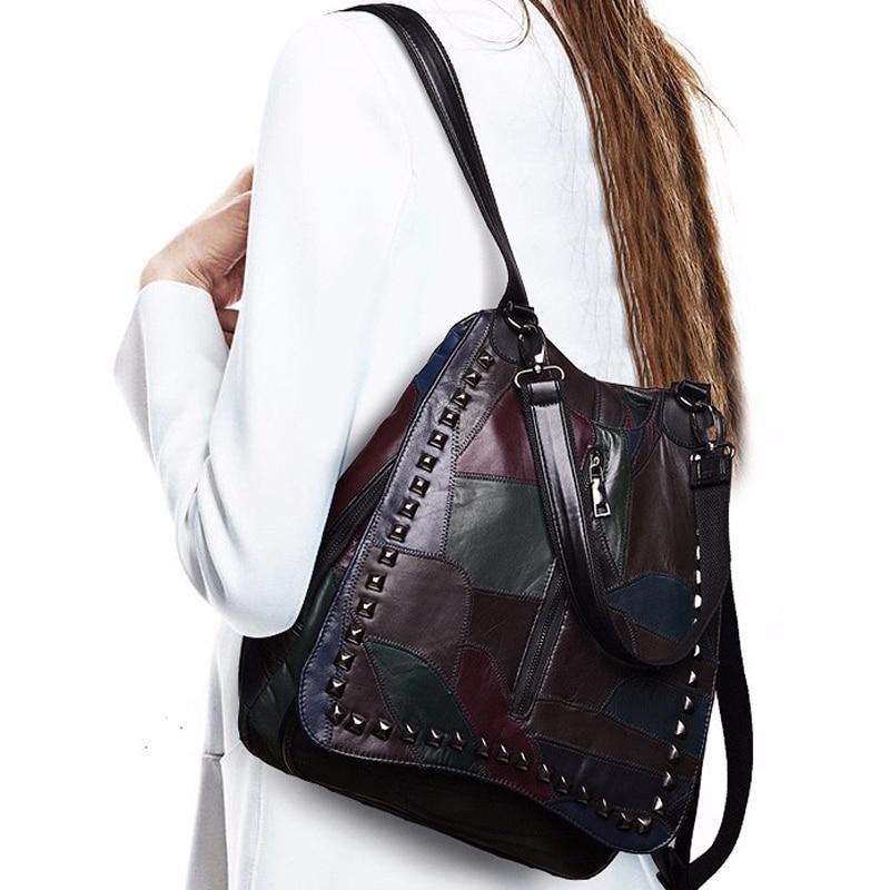 Femmes sac à dos en cuir véritable sac à dos en peau de mouton Zipper Célèbre Marque lady réel en cuir sacs à dos de mode preppy style sac