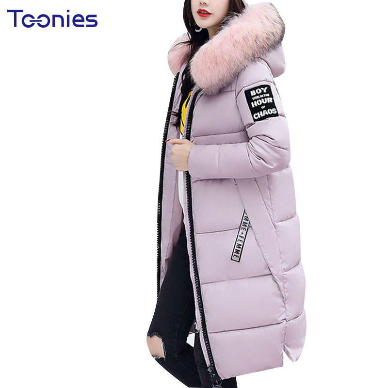 Womens Cotton Coats Fur Collar Hooded Parka Jackets Style Fashion Slim Padded Knee-length Thickening Warm Winter Coat 2017 New 2017 slim fit fashion mens fur parka mens jackets and coats black blue jaquetas masculina inverno cotton padded parka homme