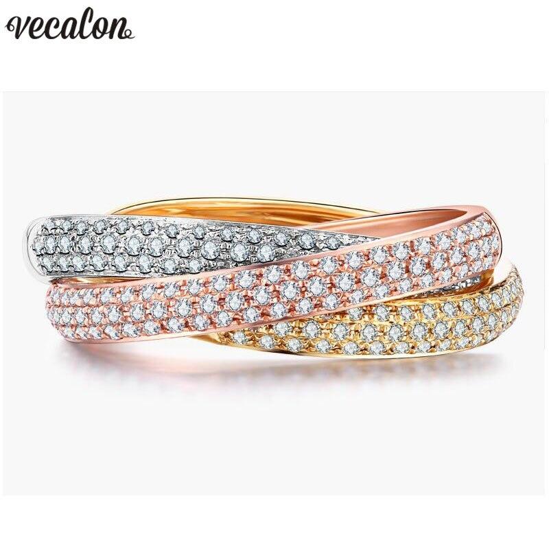 Vecalon 3-en-1 Croix Promise Ring Set 925 sterling argent pavent 5A Zircon Cz bagues de Fiançailles pour femmes Hommes Bijoux Cadeau