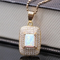 Luxury Necklace Pendant White Fire Opal &AAA Zircon Champagne Gold Filled Zircon Square Pendant Best Selling