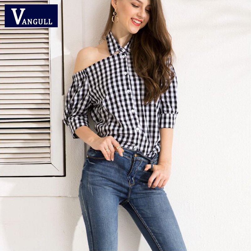 Vangull 2019 Summer Fashion Women Black White Plaid Blouses  Female Casual Matching Color Long Sleeve Button Loose Shirt Tops