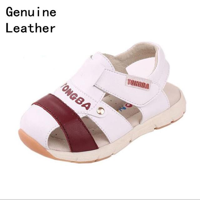 Super qualidade 1 par genuíno sandálias de couro menino crianças ortopédicos shoes, crianças/criança verão shoes
