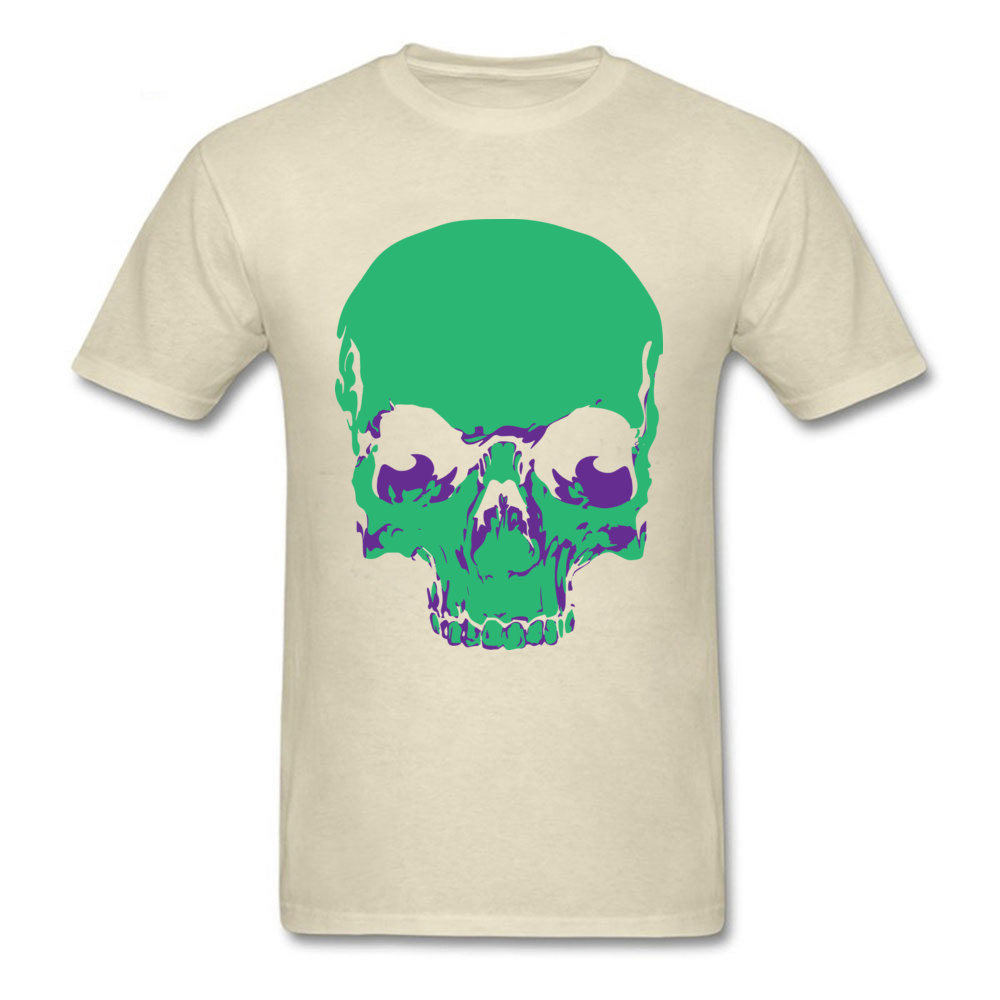 Male Fashionable Design Tops & Tees Crew Neck Summer All Cotton Tshirts Funny Short Sleeve Skull green T-Shirt Skull green beige
