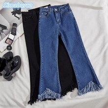 цены Flare Jeans Women High Waist Jeans Fashion Regular Denim Pants Elastic Trouser Femme Black Blue Tassel Ankle-Length Pants Autumn