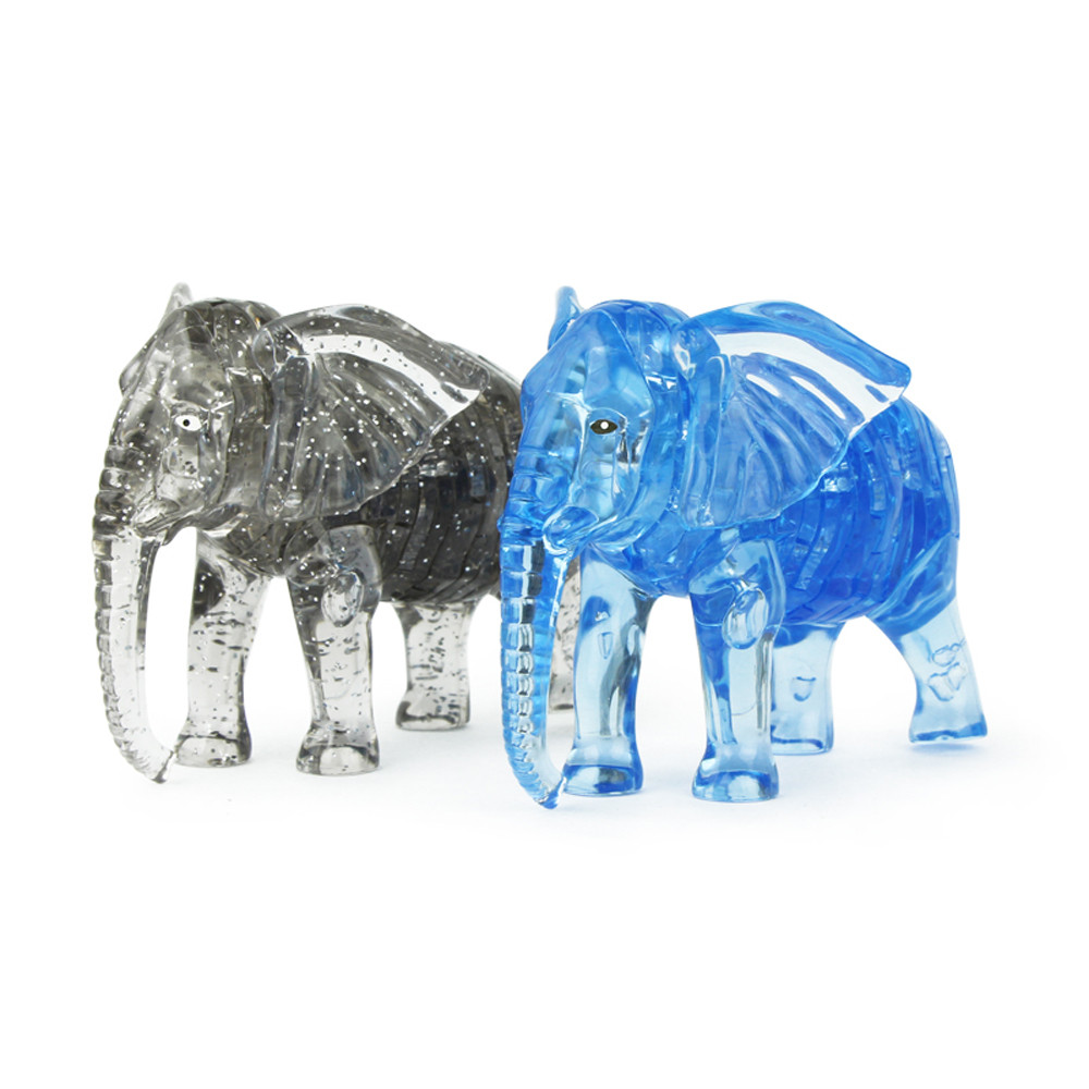 3D Crystal Puzzle Jigsaw Puzzles 41 Pieces Toys Montessori Education Toys Puzzel Adult Elephant Model Building DIY Gadget JA24b