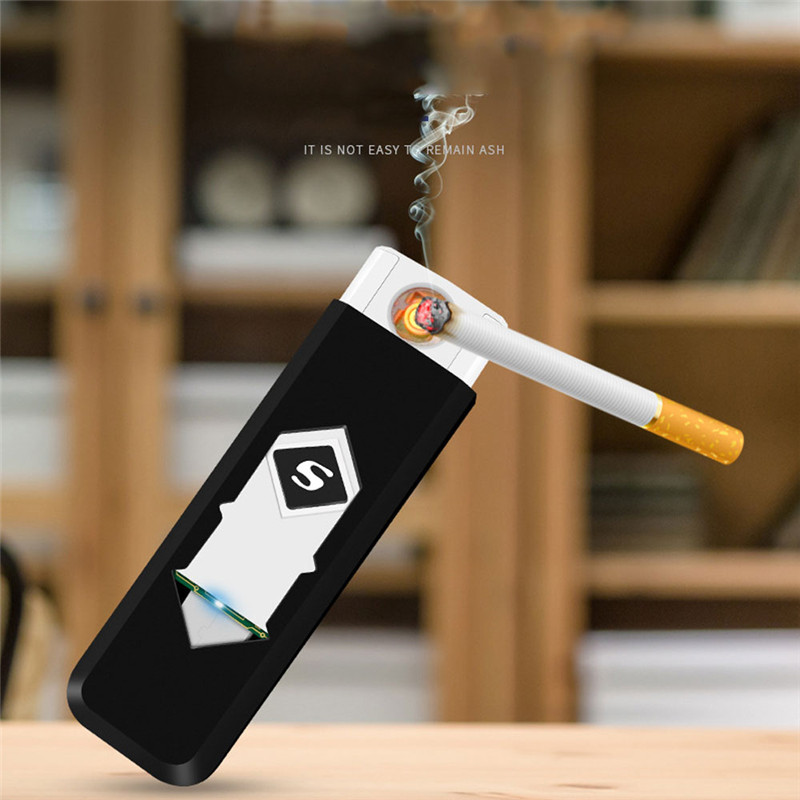 1PC Windproof Flameless Creative Rechargeable USB Electric Electronic Charging Cigarette Lighter Smokeless Lighters X