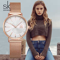 SHENGKE 2019 Ladies Watch Top Brand Luxury Crystal Watch Women Watches Rose Gold Women's Watches Relogio Feminino Montre Femme