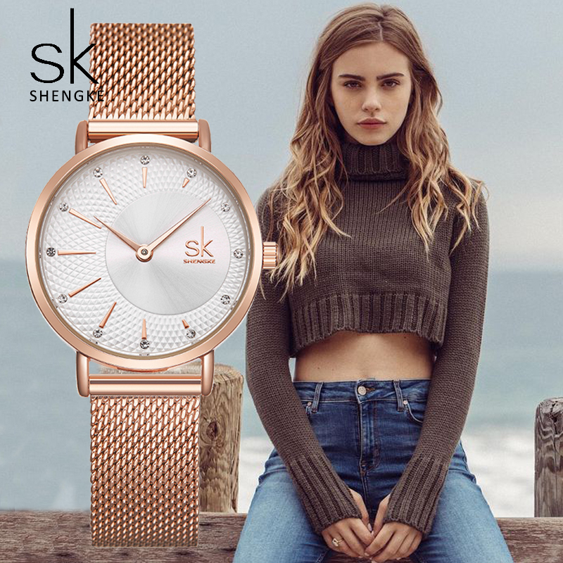 SHENGKE 2019 dames Montre Top marque de luxe Montre en cristal femmes montres en or Rose femmes montres Relogio Feminino Montre Femme