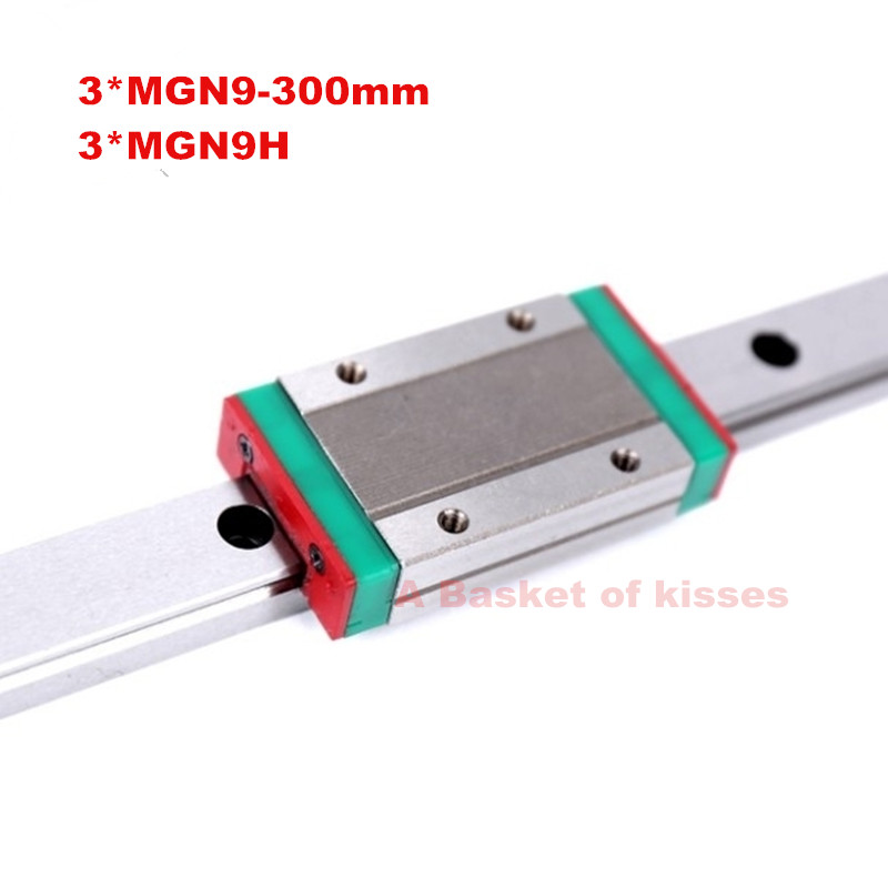 free shipping 3d printer linear guide 3pcs mgn9 - L300mm + 3pcs MGN9H carriage for CNC X Y Z Axis  linear guide free shipping cnc 800mm stroke cnc linear guide kit for three axis machine