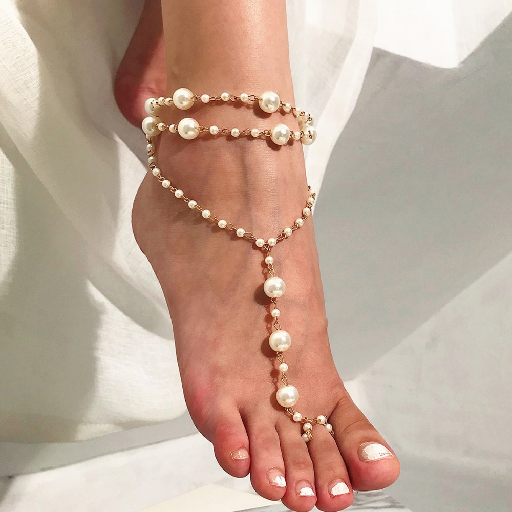 Pearl Anklet Fashion Jewelry Accessories Fine Foot Feet Jewelry Anklet Funny Women Pearl Beach Yoga Ankle Bracelet Jewellery