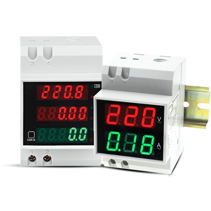 Medidor multifunção D52-2042 D52-2047 din-rail, medidor de tensão atual digital led fator de energia AC80-300V 100a