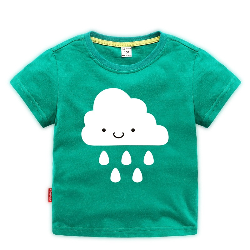 Summer new children 39 s clothing cute cartoon print short sleeved T shirt baby boy shirt toddler girl clothes 2 8 years old in T Shirts from Mother amp Kids