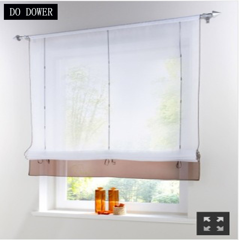 Decoration garden Kitchen Short Curtain Liftering Ribbon Roman Curtain height adjustable roman blinds rod pocket top Style