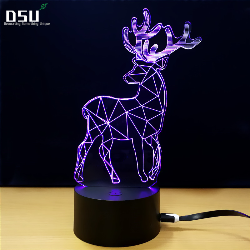 100% Kwaliteit 3d Herten Plastic Bureaulamp Tafel Lichten Handcraft Led Nachtlampje Slaapkamer Kerst Speelgoed Gift Usb Plug