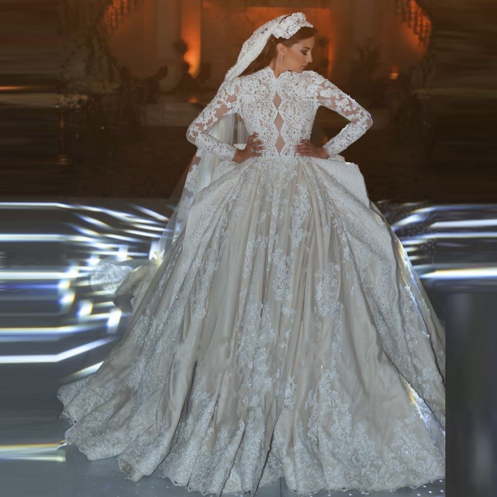 Ruching Wedding Gowns: Muslim Wedding Gowns Robe De Mariee Ruched Bridal Royal