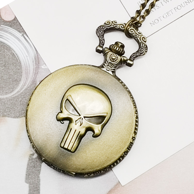 Retero Bronze 3D Skeleton Carving Quartz Pocket Watch Men Women Fob Watches With Chain For Men Women Gift