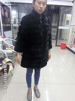 Linhaoshengyue El verdadero de 90 CM real natural de piel de visón de largo abrigo