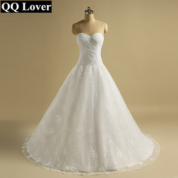 QQ Lover 2019 Nice Lace Vestido De Noiva Appliques Pleated Wedding Dress Wedding Gown Bridal Gown