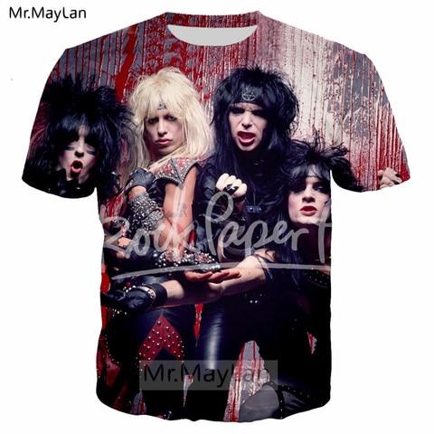 Pop Heavy Glam Metal Motley Crue n KISS Band 3D Print T shirt Men/women Hard Rock Streetwear T-shirt Man Tie Dye Tshirt Clothes Karachi