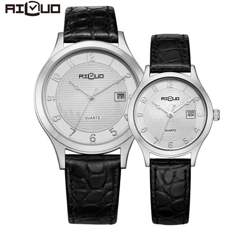 Brand Classic Fashion Lovers Watch Casual Business Quartz Calendar Genuine Leather Strap Wristwatch