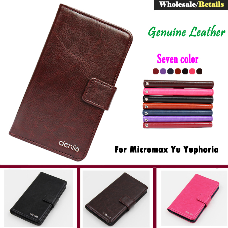 Factory Price Micromax Yu Yuphoria Case 7 Colors Fashion Slip Genuine Leather Protective Phone Cover Card Slots Wallet+Tracking