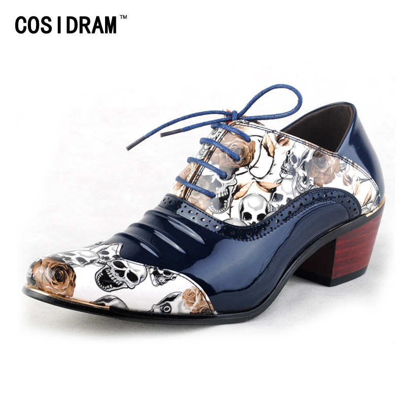 New Skull Men Formal Shoes Pointed Toe Fashion Men Oxfords British Style High Heels Lace Up Zapatos Hombre Male Footwear RMC-560