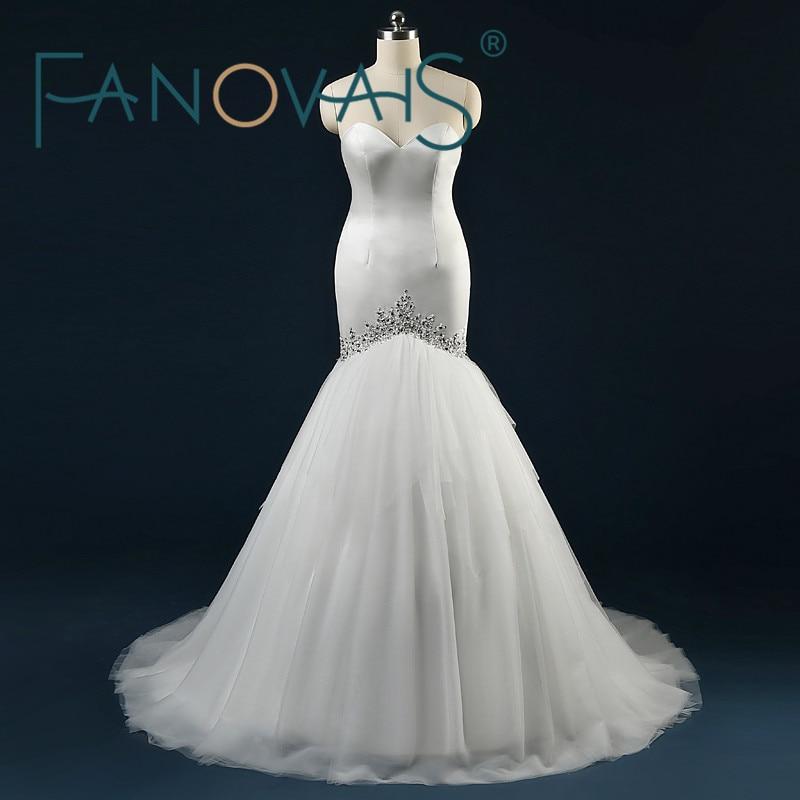 ASA Foto-foto Tulle Tulle Bertali Ruffles Mahkamah Keretapi Gaun Perkahwinan Mermaid Manik Kristal Dihiasi Off Gaun Pengantin Bahu