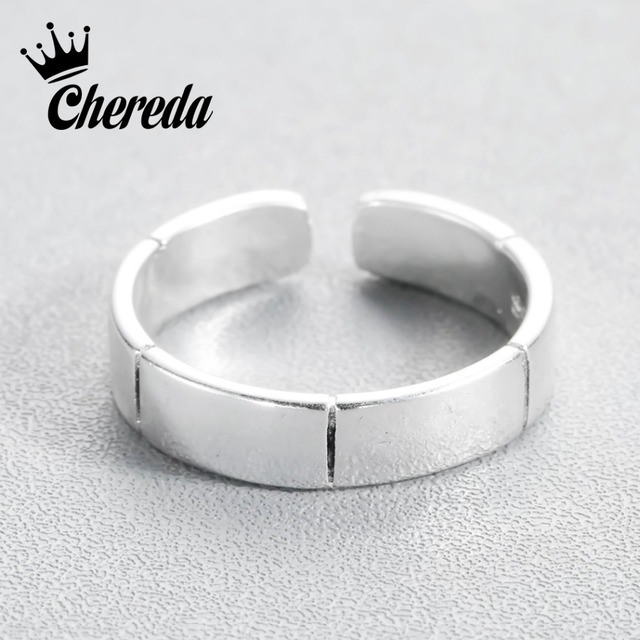 d96f29995 Chereda Simple Men Ring Unisex Personality Jewelry Adjustable Silver Color  Punk Rings Stripe Shape Attract Ring