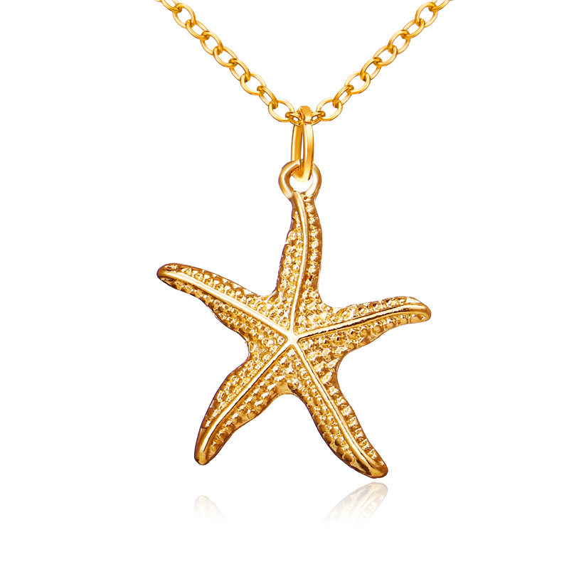 2019 Starfish Shell Necklace for Women Girl Fashion Gold Choker Necklaces Pendants Boho Beach Jewelry Gift in Pendant Necklaces from Jewelry Accessories