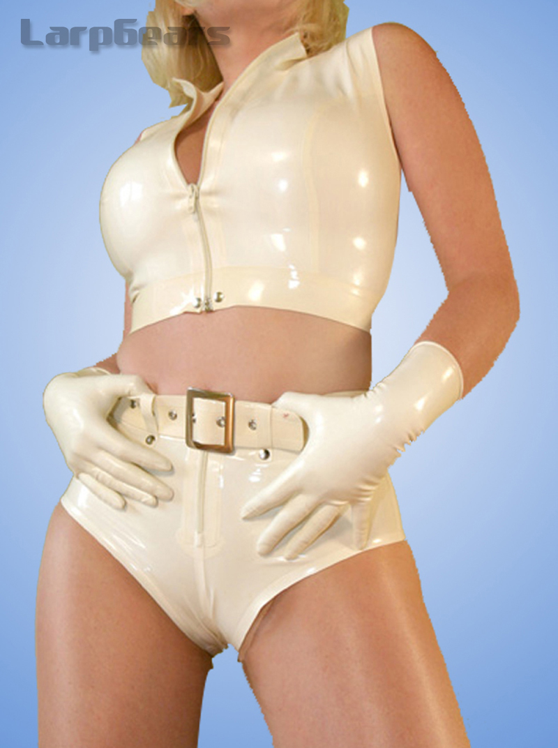 Fashion Women Rubber Latex Lingerie Set with Waist Belts and Gloves Custom Made Tanks and Underwear