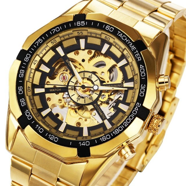 2018 New Golden Watches Top Luxury Brand Men's Sports Automatic Skeleton Man WIN