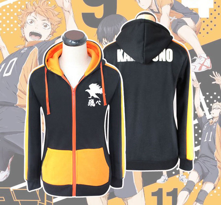 Haikyuu!! Karasuno High School Hinata Syouyou Jackets Cosplay Costume Unisex Hooded Hoodies Casual Cardigan Sportwear Sweatshirt