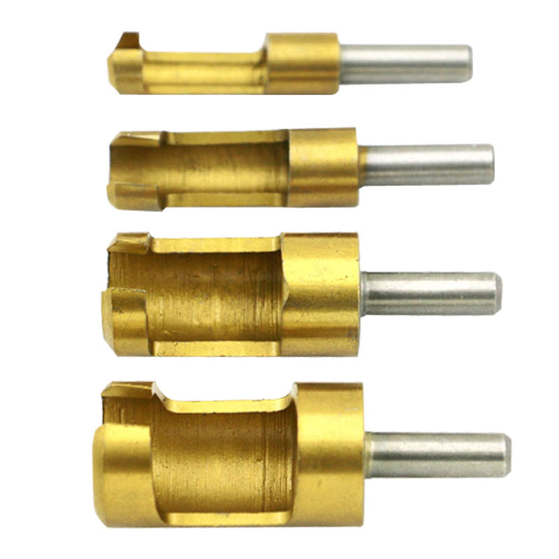 4Pcs/set Titanium Shank Barrel Cork Drill Bit Plug Cutter Bored Hole Tenon Drills Hole Saw Arbors Woodwork Tools --M25