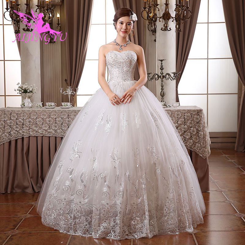 AIJINGYU 2018 Gowns Free Shipping New Hot Selling Cheap Ball Gown Lace Up Back Formal Bride Dresses Wedding Dress WK429