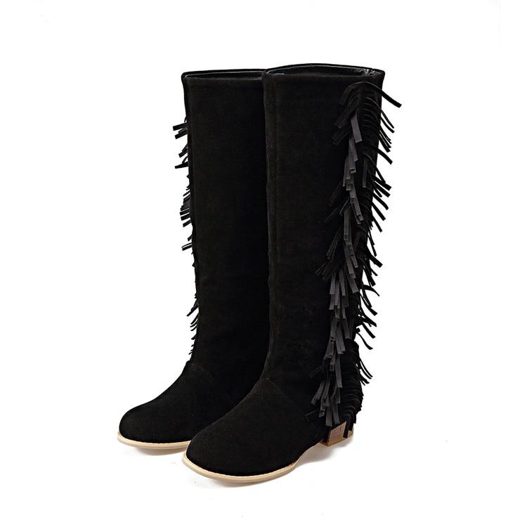 2017 grande taille 34-47hot vente nouvelle marque de mode femmes moto bottes en cuir chaussures à semelles compensées femme automne hiver genou haute T562