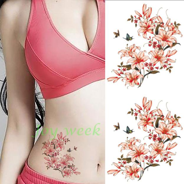 Waterproof temporary tattoo sticker pink flower tattoo womens body waterproof temporary tattoo sticker pink flower tattoo womens body art tatto stickers flash tatoo fake tattoos in temporary tattoos from beauty health on mightylinksfo