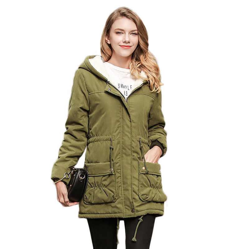 MSFILIA New Winter Coat Warm Slim Women Jackets Cotton Padded Medium Long Thick Hooded Parkas Casual Wadded Fleece Outwear new collocation winter warm parkas hooded pockets zipper solid thick women coat slim long flare slim cotton padded lady jackets